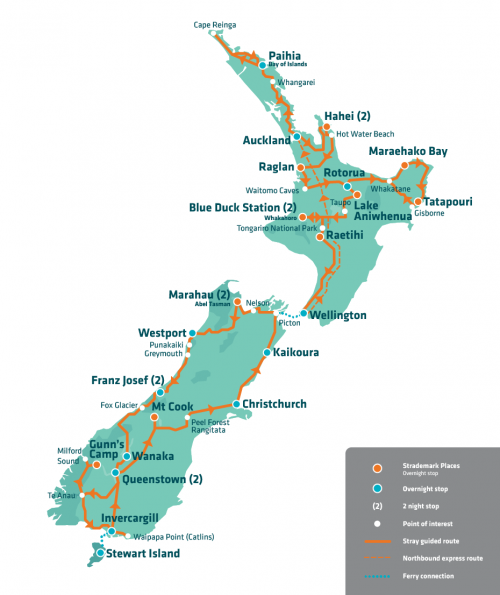Everywhere New Zealand Bus Tour Map2018